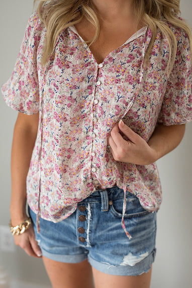 Sooner or Later Flutter Tie Blouse