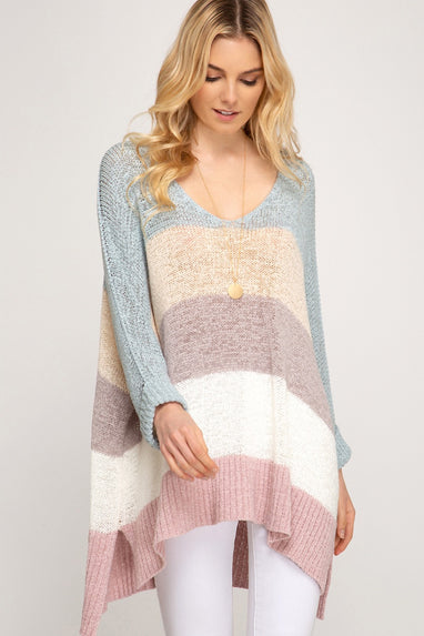 HiLo Striped Sweater in Slate