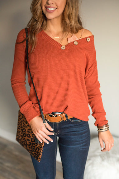 Waffle Knit Top in Brick