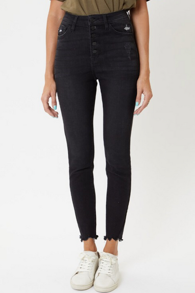 Kent Buttonfly High Rise Jeans in Charcoal