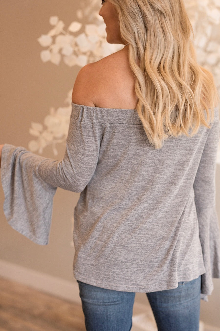 Heather Grey Off The Shoulder Top