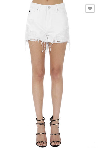 KanCan Distressed Shorts in White