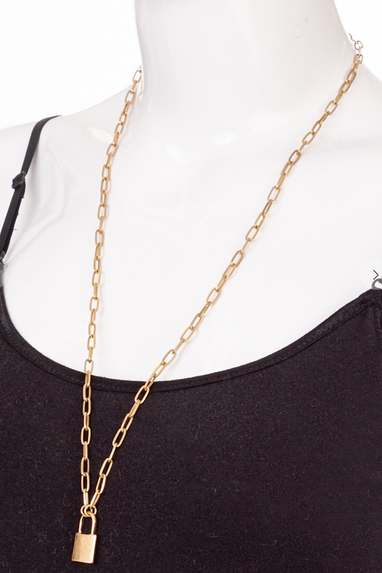 Long Padlock Pendant Necklace