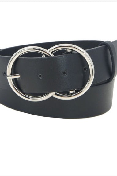 Vegan Leather Double Ring Belt in Black w/ Silver