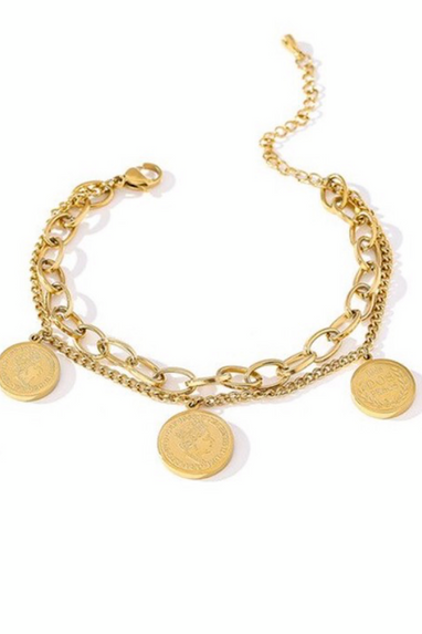 Coin Bangle Chain Bracelet in Gold