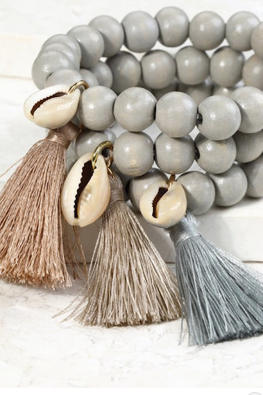 Coffee Bean Tassel Bracelet Set in Grey or Natural