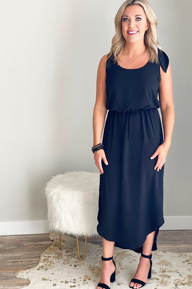 Bow & Shoulder Midi Dress