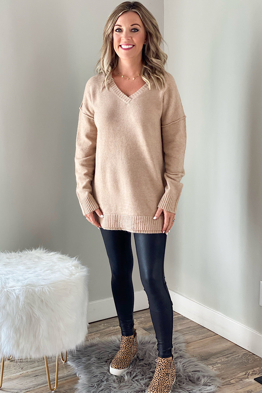 Railroad Sweater Tunic in Tan