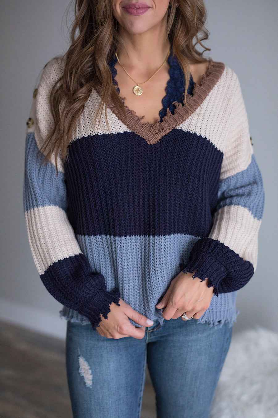 Give me the Blues Distressed Sweater