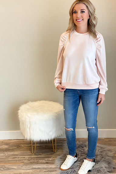 Blushing Puff Shoulder Sweatshirt