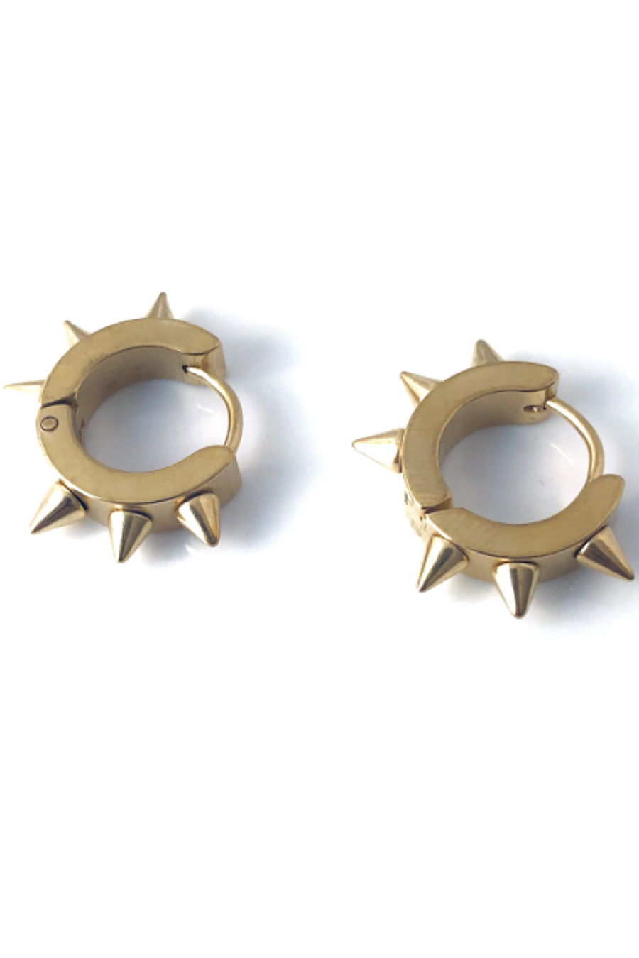 Steel Spike Huggies Earrings