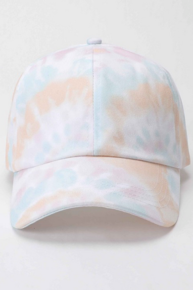 Cotton Tie-Dye Baseball Cap in Natural