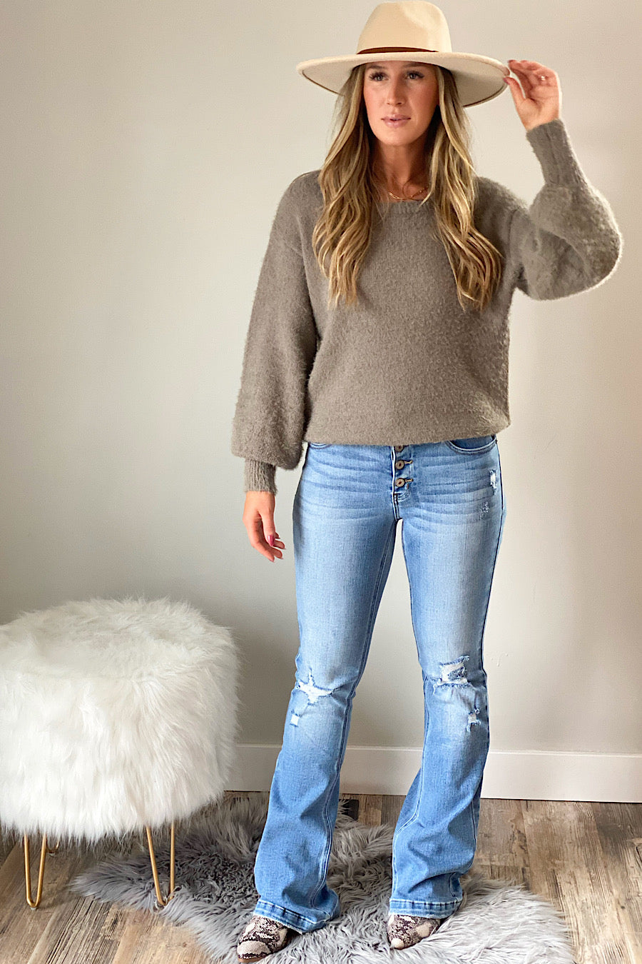 Fuzzy Cut Out Sweater