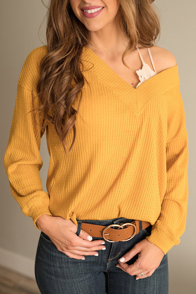 Off the Shoulder Waffle Top in Gold