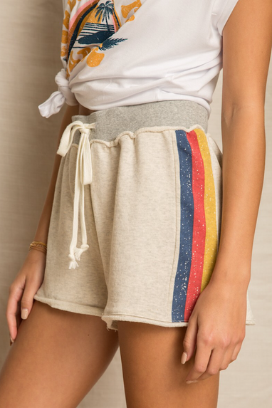 Rainbow Stripe Terry Shorts