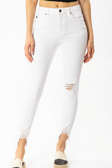 Uma Distressed Ankle White Jeans