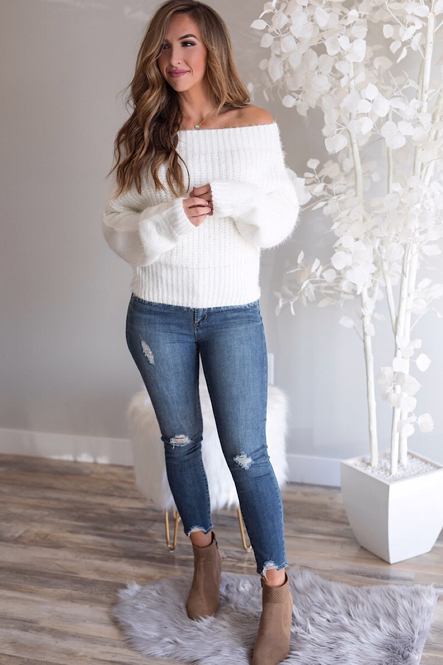 Off The Shoulder Sweater in Snow