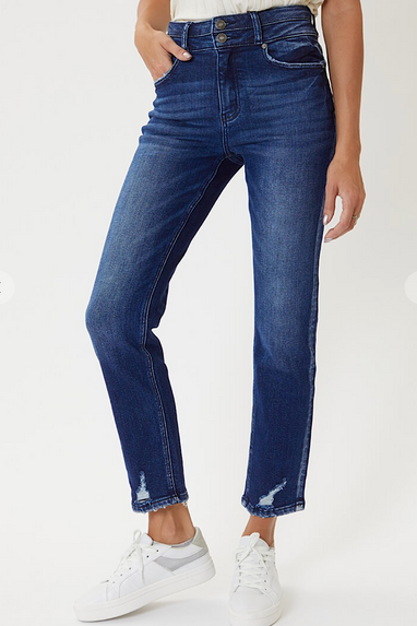 Carissa Dbl Band High Waist Straight Jeans