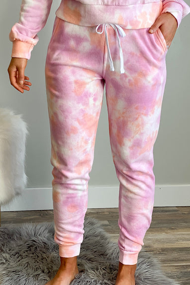 Downward Spiral Tie Dye Jogger in Pink