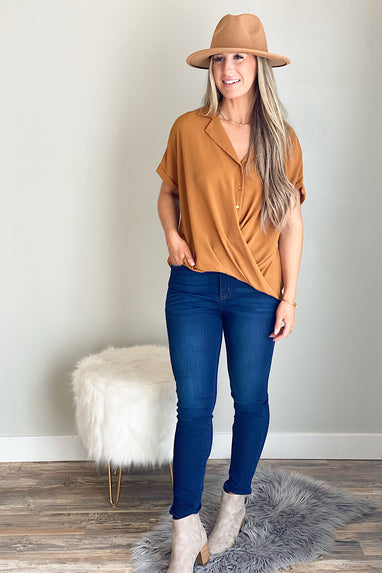 Draped Button Down Blouse in Spice