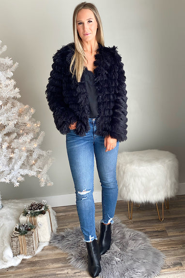 Black Shag Me Layered Tassel Jacket