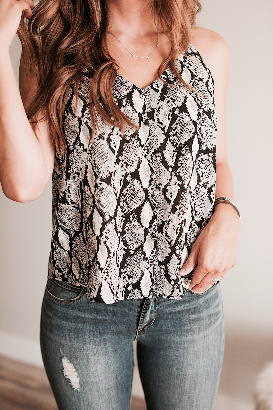 Snake Print Cami Top in Grey
