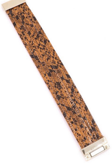 Snakeskin Print Wrap Bracelet in Brown