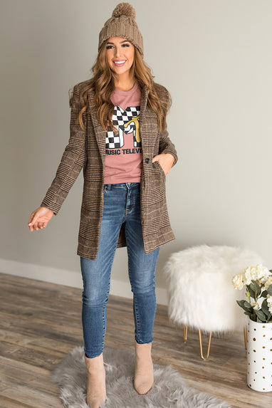 Wool Checkered Blazer Coat