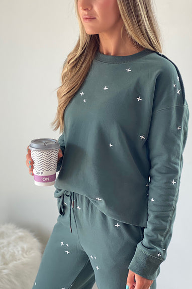 Yawn Embroidered Pullover
