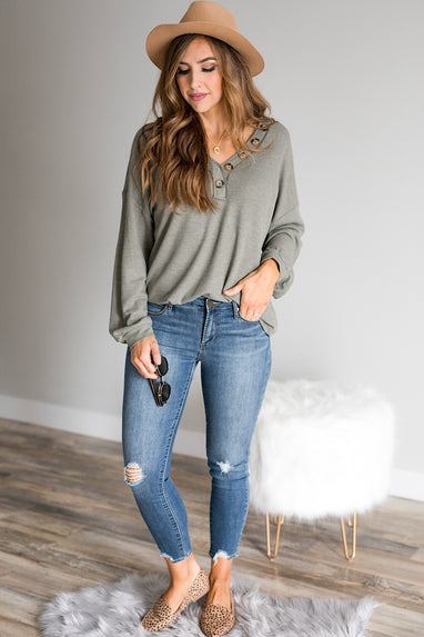 Olive Button V-Neck Thermal