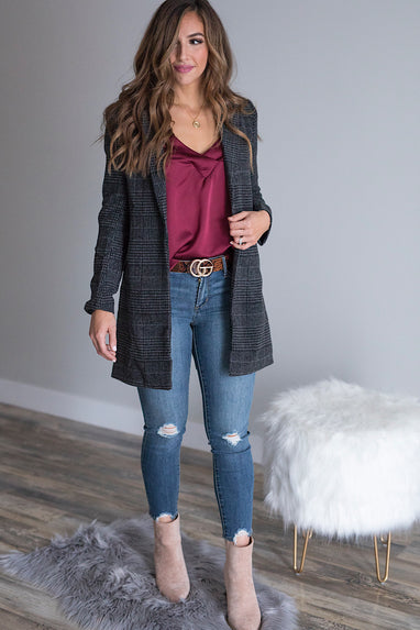 Wool Checkered Blazer Coat in Charcoal