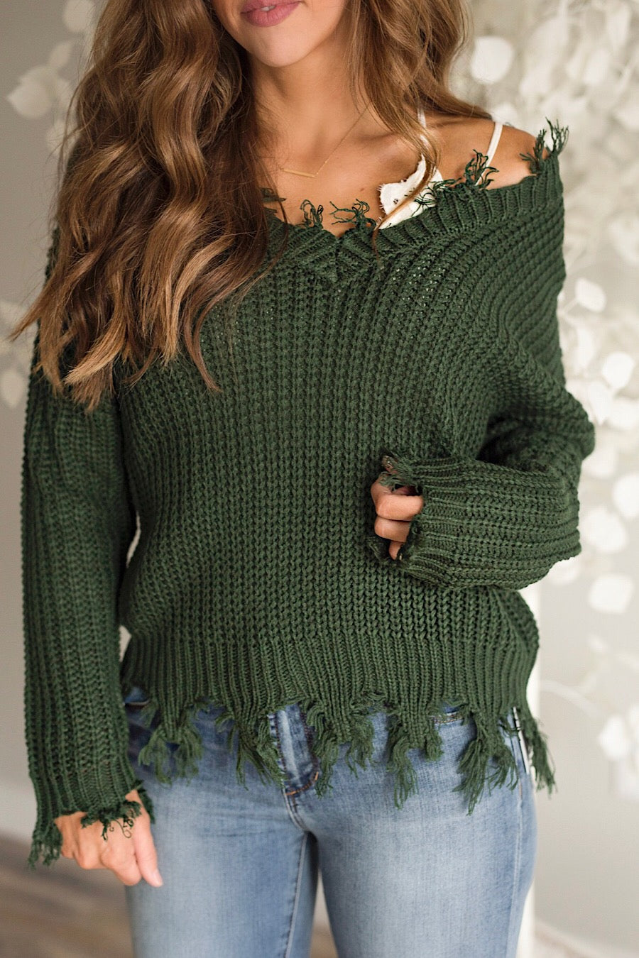 Distressed Sweater in Olive