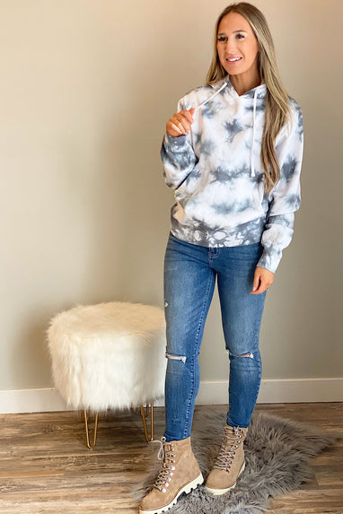 Grey Skies Tie Dye Hooded Sweatshirt