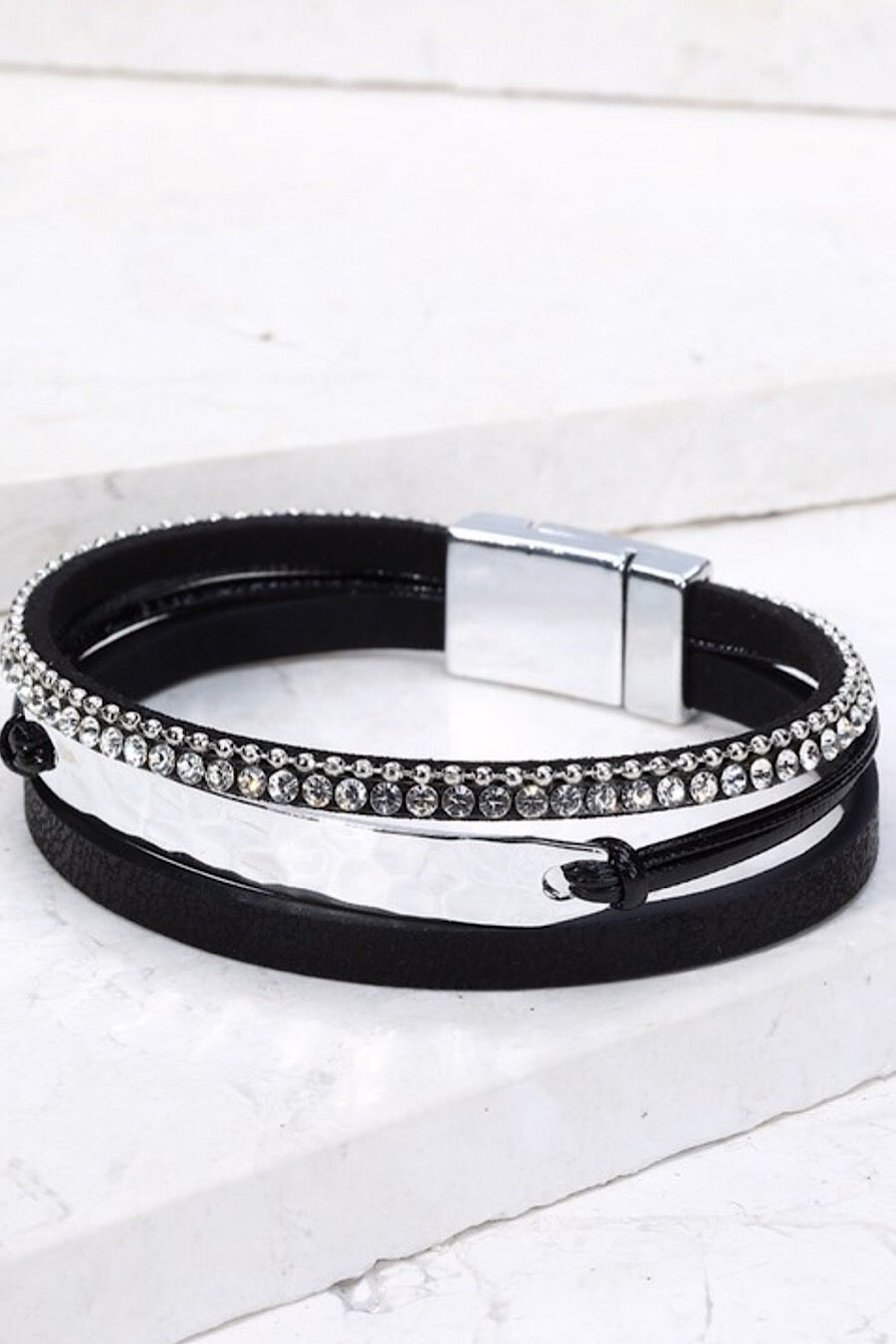 Multi Strand Bracelet in Black, Grey or Gold
