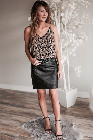 BB Dakota So Edgy Leather Skirt