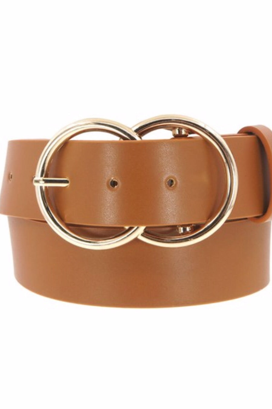 Vegan Leather Double Ring Belt in Tan
