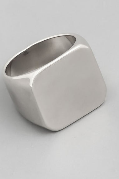 Metallic Square Signet Ring in Silver or Gold