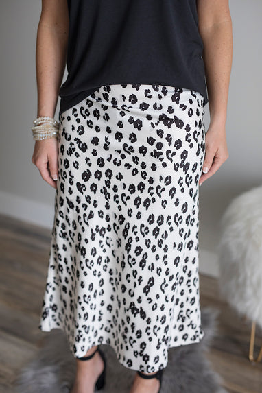 Leopard White & Black Satin Midi Skirt