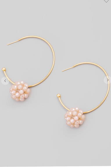 Glass Bead Ball Hoop Earrings in Blush or Ivory