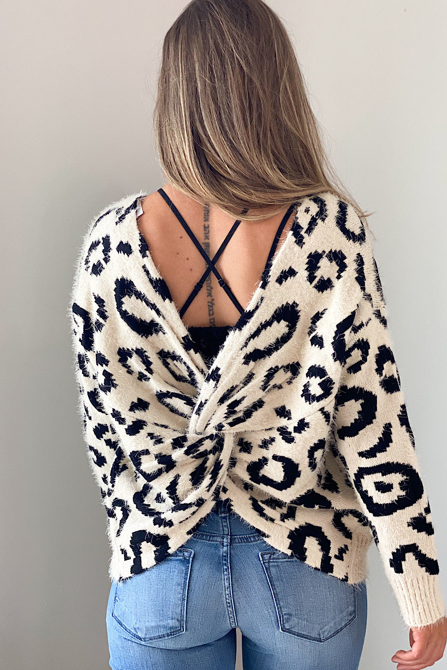 Nine Lives Leopard Open Back Sweater