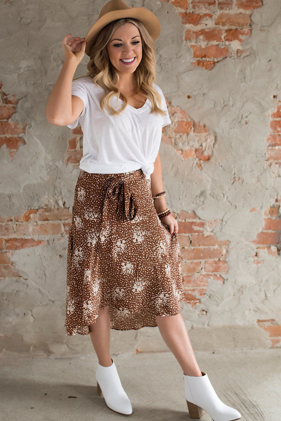 Ride or Tie Printed Midi Skirt