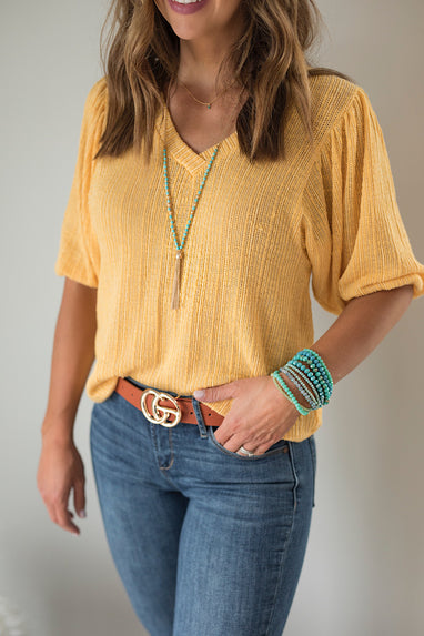 Golden Summer Knit Top