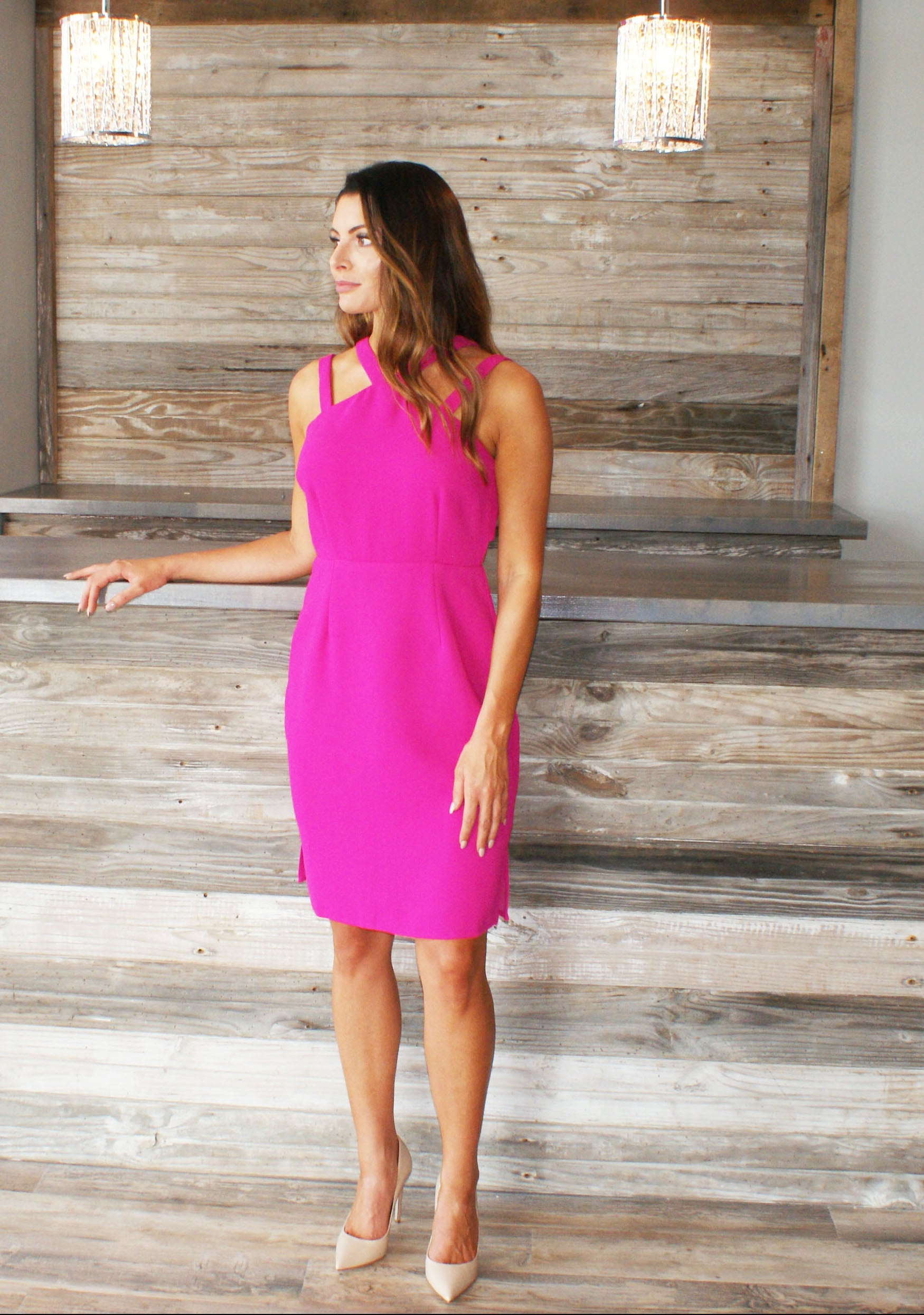 Magenta Cut-out Dress