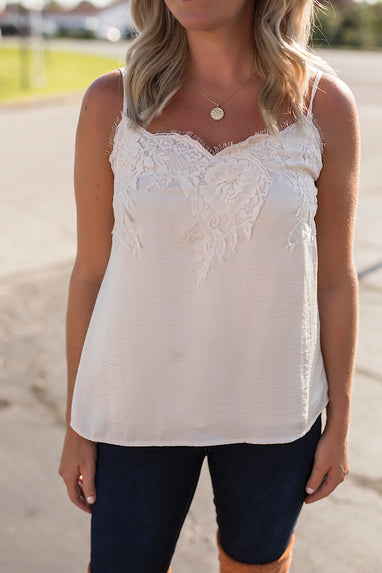 Cream Lace Cami Top