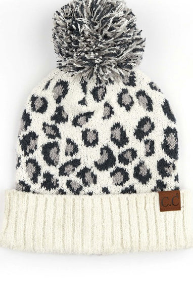 CC Leopard Knit Beanie! Grey, Ivory, Black or Latte