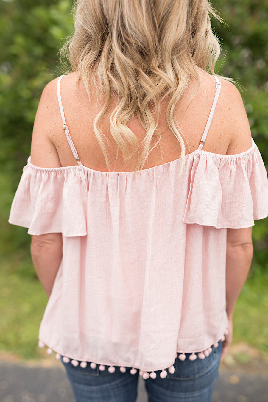 Dusty Pink Bare Shoulder Top