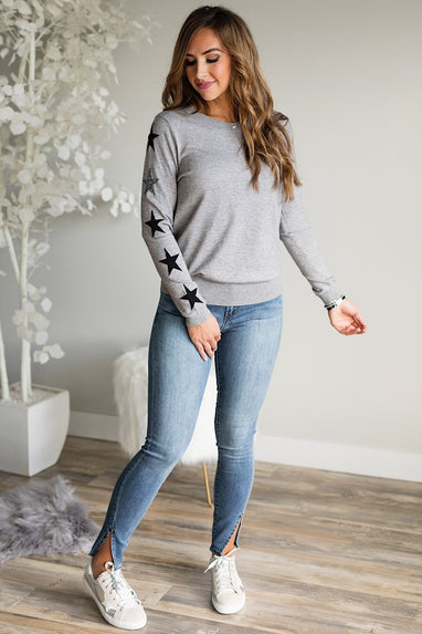 L/S Star Top in Charcoal
