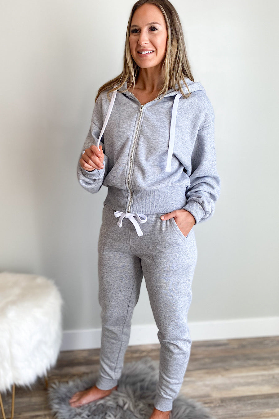 Fleece Joggers with Pockets in Heather Grey