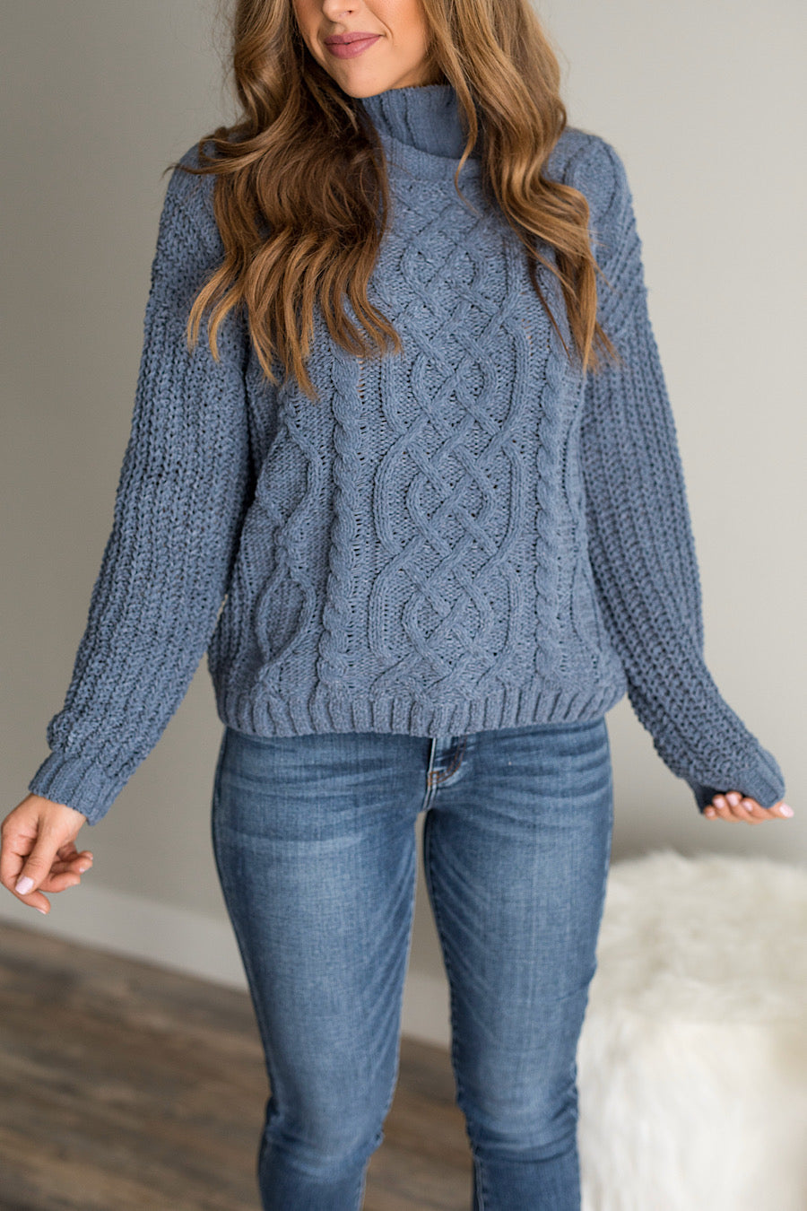 Cable Knit Sweater in Fog