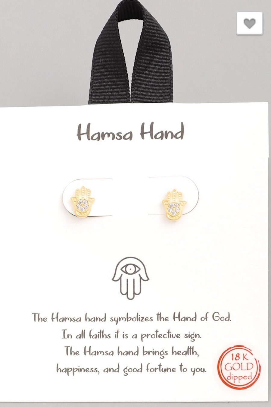 Hamsa Hand Stud Earrings in Gold